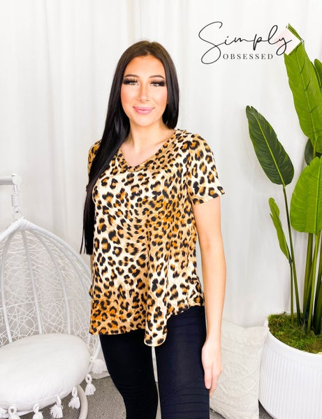 Sew In Love - Short sleeve animal print v-neck top