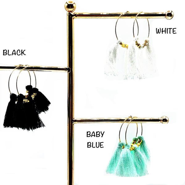 LAALEE - Medium Gold and Colored Fringe Hoops