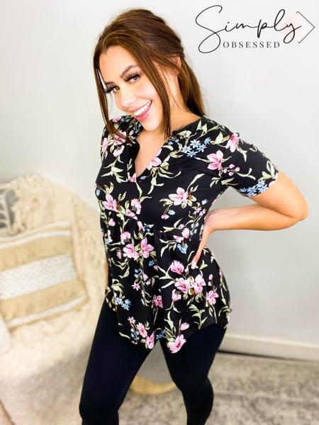 Sew In Love - Black Floral Short Sleeve Shirt (plus)