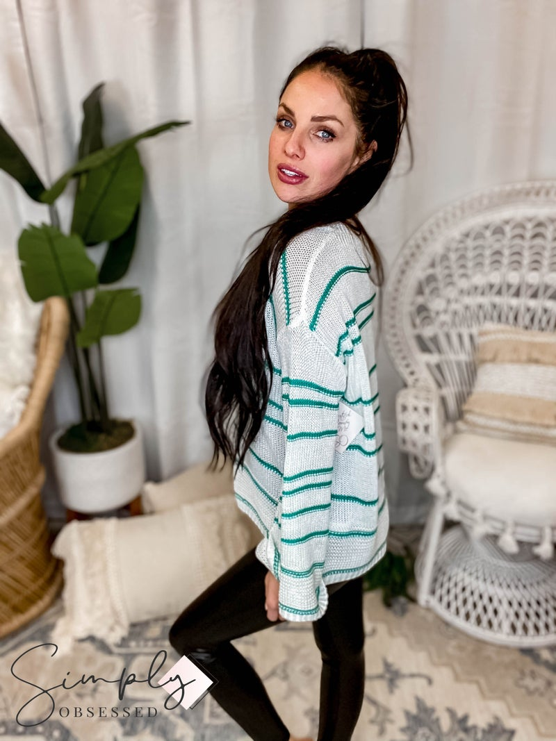 EE:Some - Striped V Neck Sweater