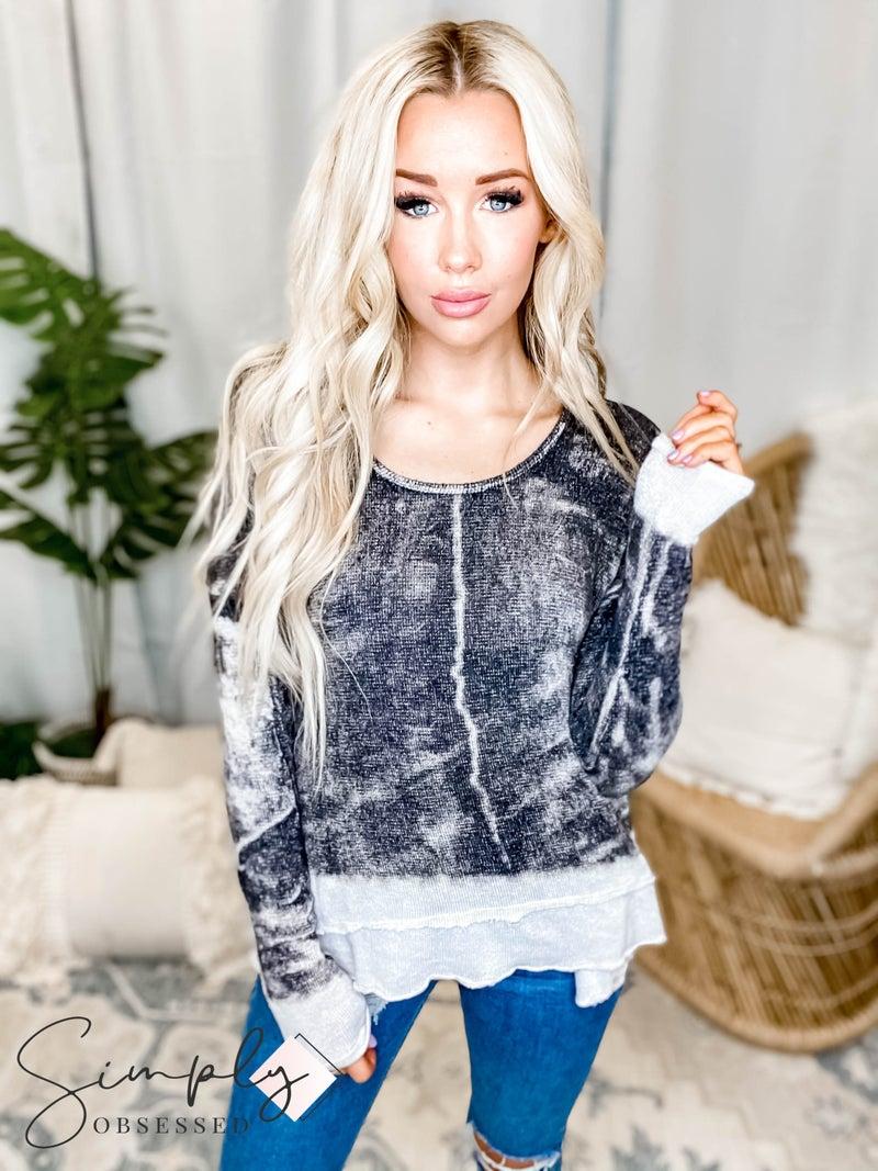 T-Party - Tie Dye Raw Edge Detail Long Sleeve Sweater