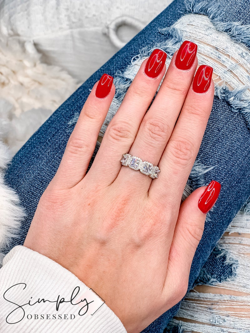NYJ - Square Clear 4 Stone Ring