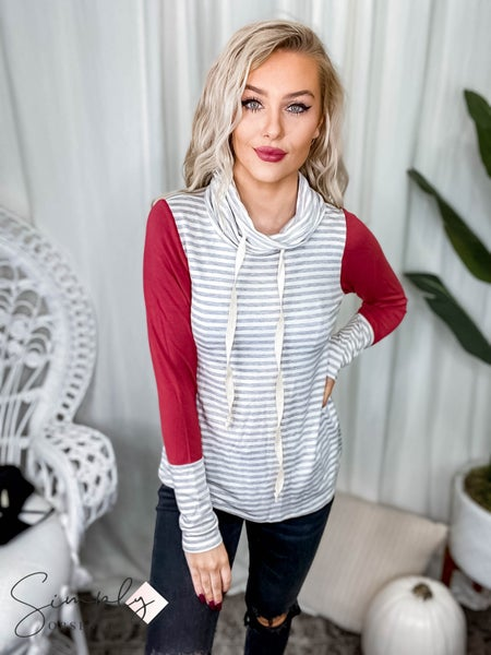 First Dibs Hailey & Co. - High neck cotton twill drawstring solid long sleeve top