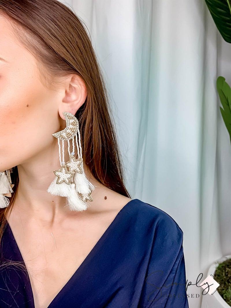 TJ - White Tassel Star Moon Earrings