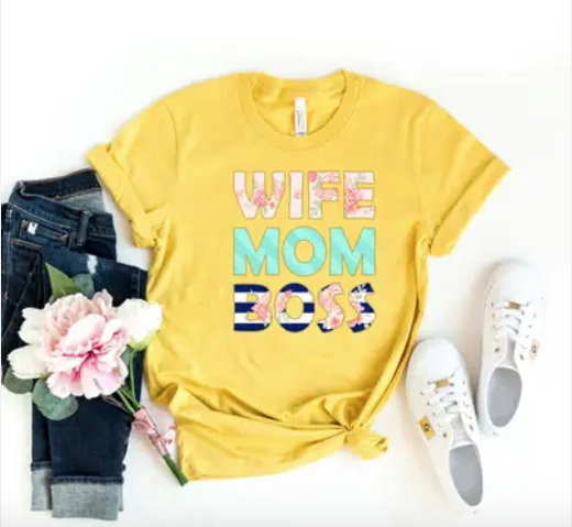 """Canvas - """"Wife Mom Boss"""" graphic top(plus)"""