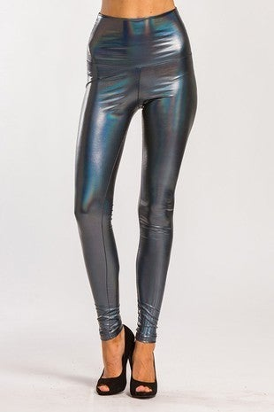 Cherish - Faux foil high waist leggings