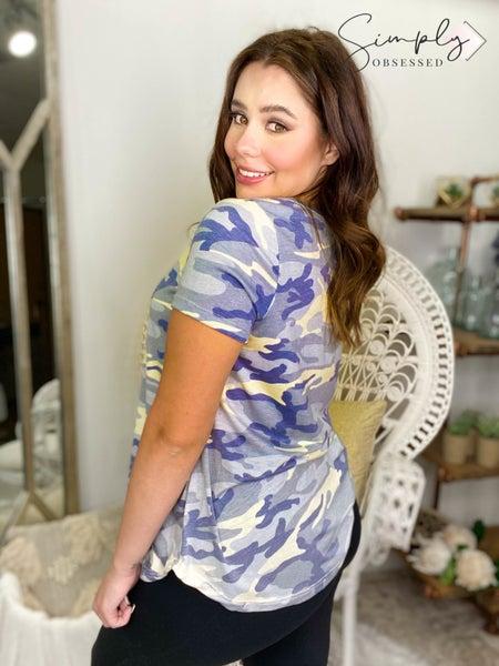 Sew In Love - Short sleeve camo v-neck top