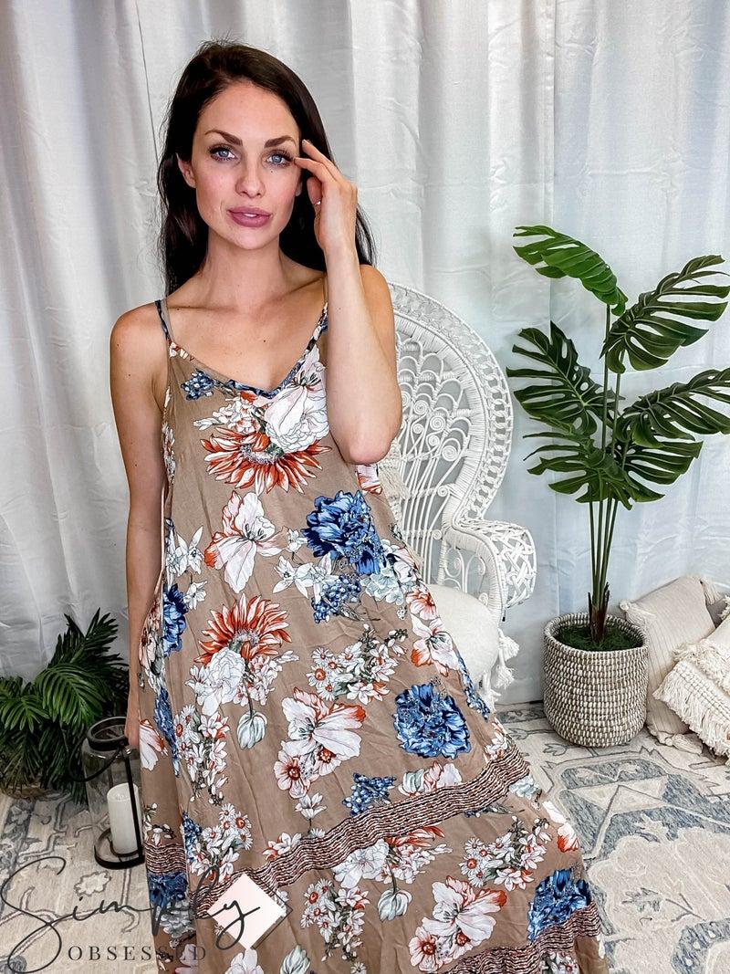 Jodifl - Floral print cami strap maxi dress