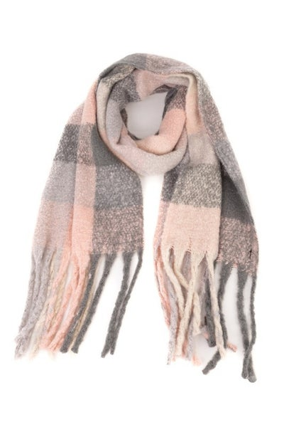 Fame Accessories - Plaid fringe oblong scarf
