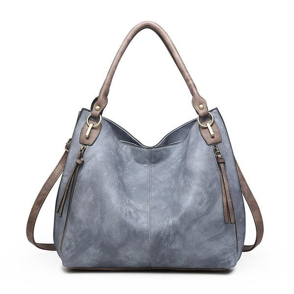 Jen & Co - Distressed tote with front zipper pockets and adjustable/detachable shoulder strap