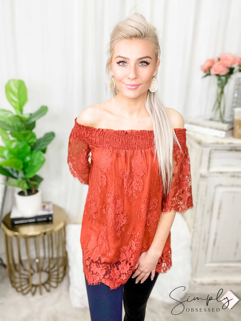 HAILEY & CO-Off Shoulder Lace Top With Same Colored Lining