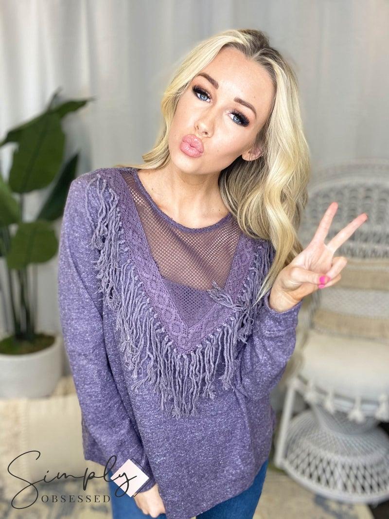 Oddi - Long Sleeved Sweater W/ Sheer V Neckline & Fringe