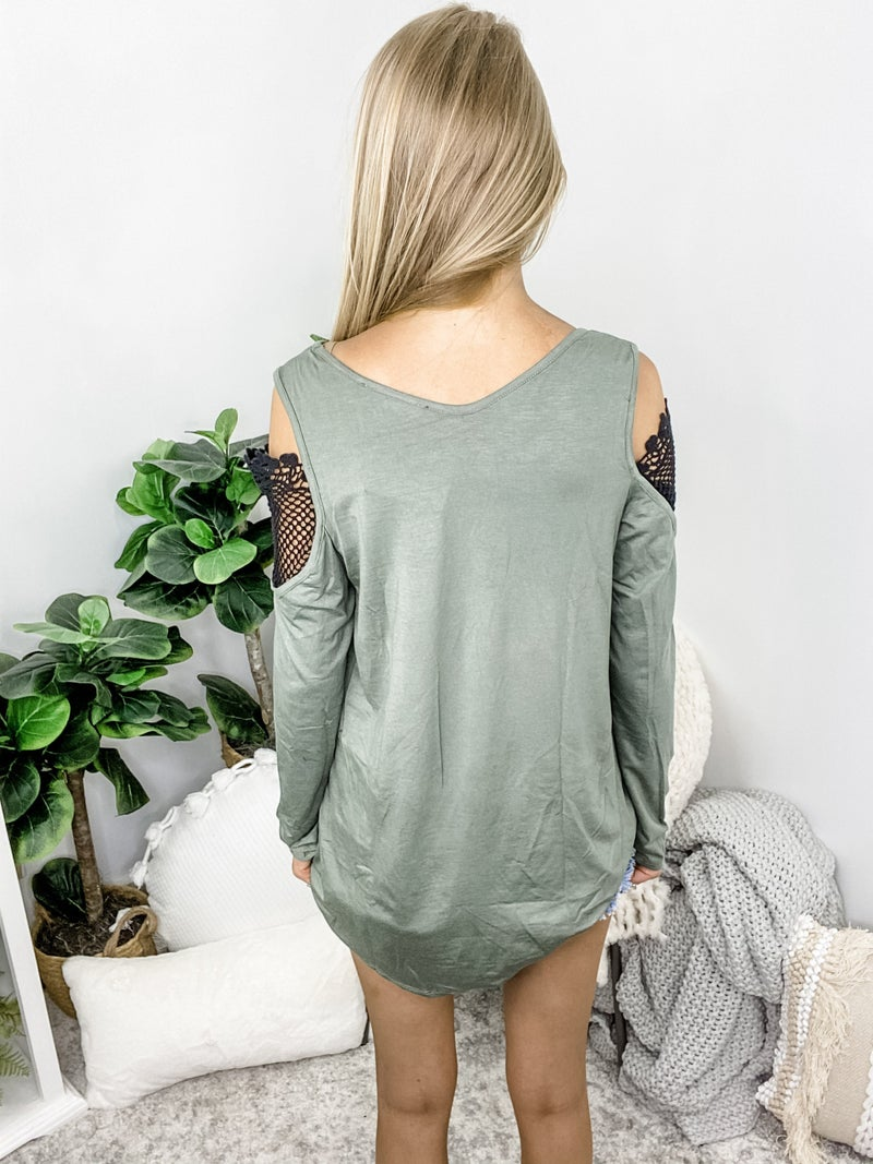 AAAAA FASHION-Swing Tunic V Neck Oversize Hi Low Lace Top