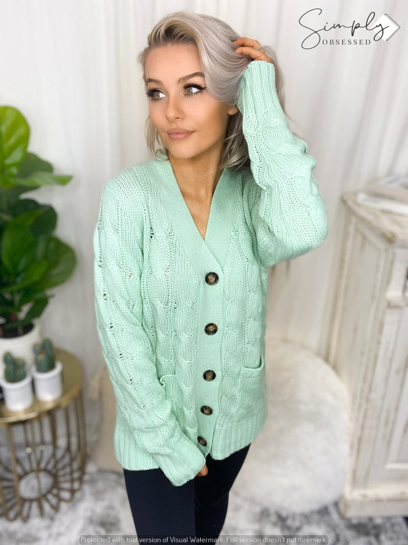 ZANANA-CABLE KNIT BUTTON CARDIGAN WITH POCKETS