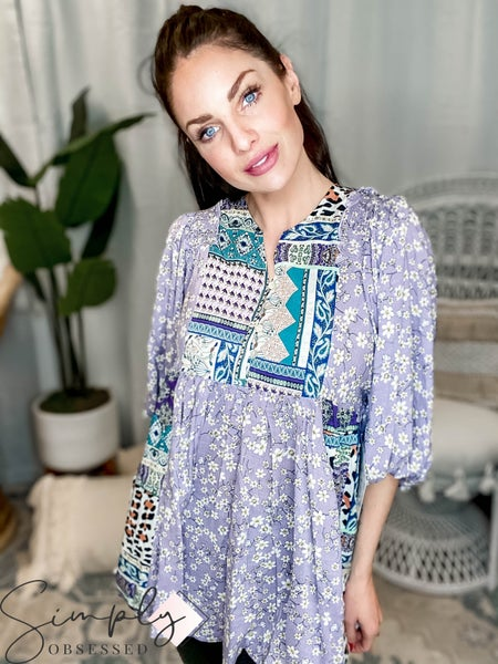 Easel - 3/4 Sleeve Mix N Match Printed top