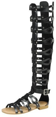 FOREVER-WOMENS KNEE HIGH CAGED GLADIATOR SANDALS