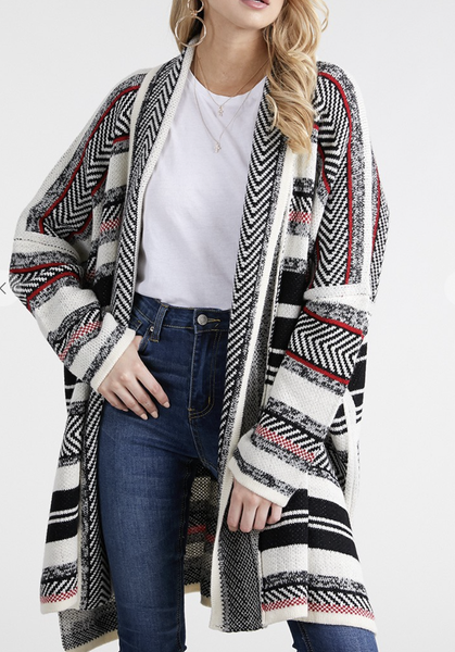OceanUs - Chevron stripe cardigan sweater