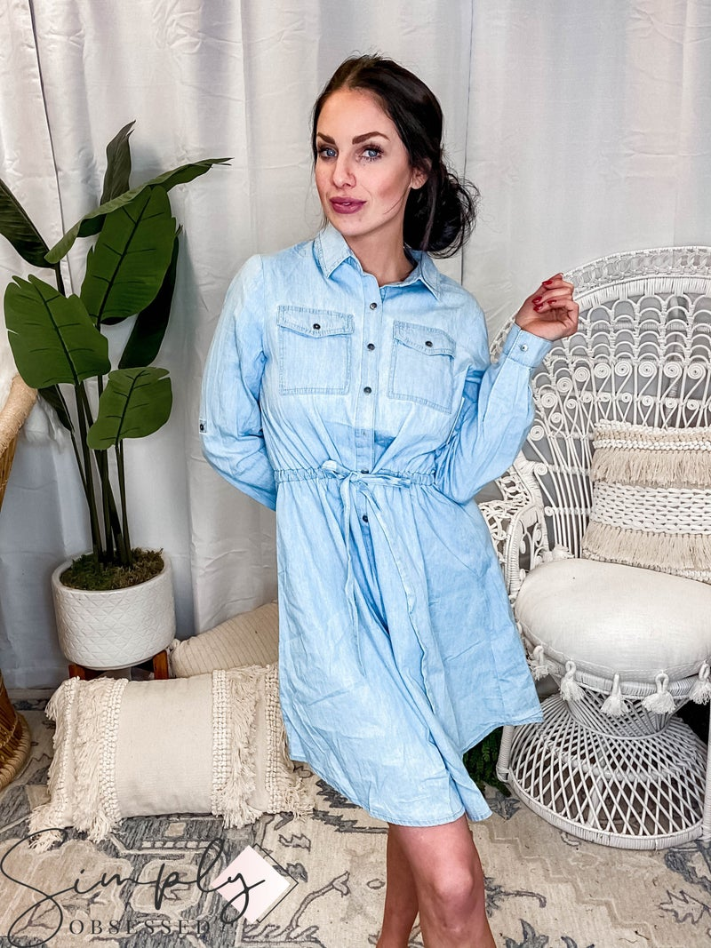 Ninexis - Button up denim chambray dress with drawstring waistband