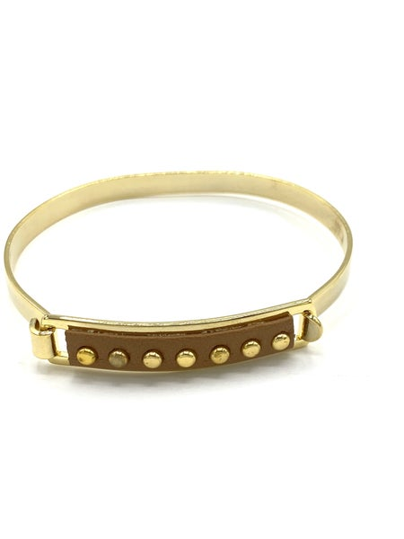 Tan Stud Leather ID Bracelet