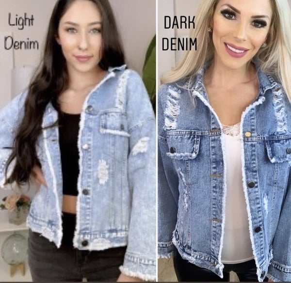 Macaron- Distressed denim jacket with buttoned front and frayed cuff