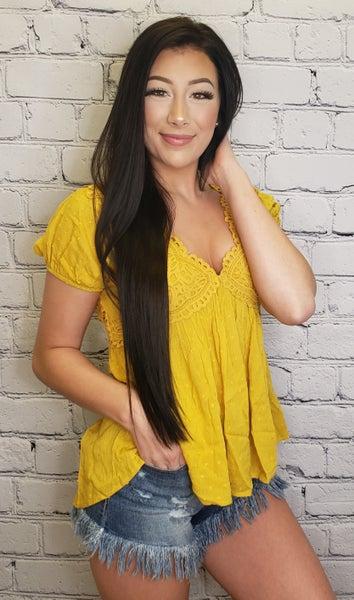 Oddi - Short sleeve crochet lace v neck babydoll top(plus)