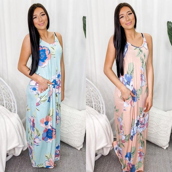 5BESTIES-Floral Print Boho Dress With Side Pocket