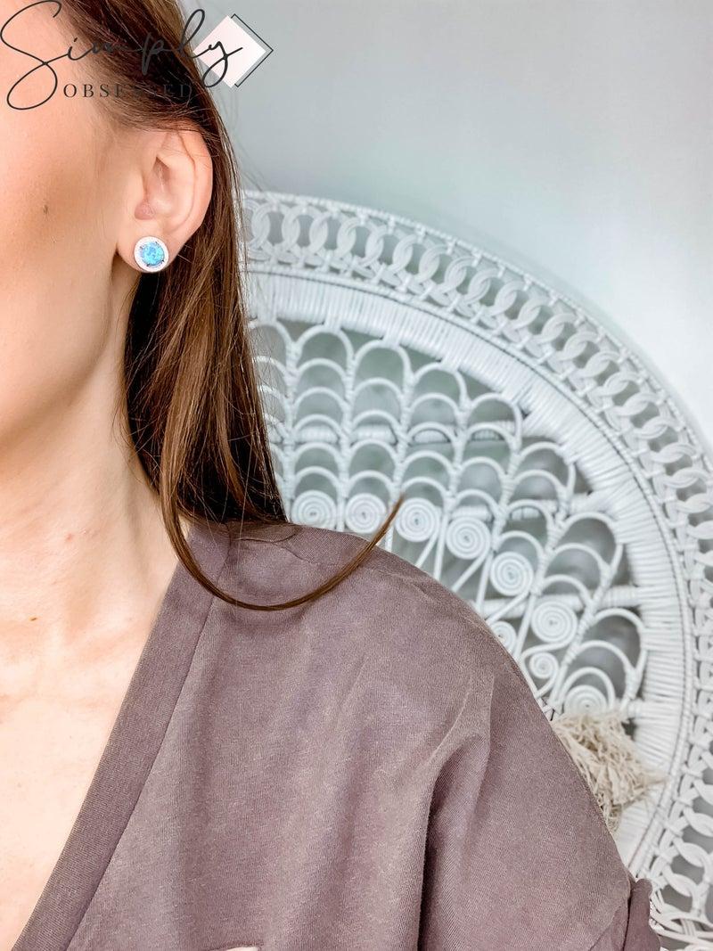 NYJ - Blue Moonstone Halo Rose Gold Earrings