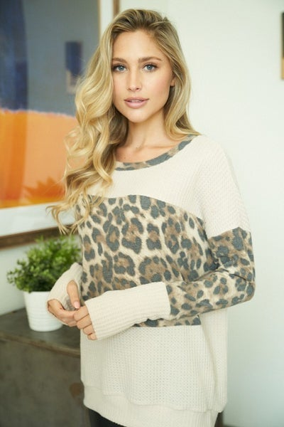 White Birch - Long Sleeve Solid Waffle Knit Top