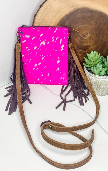 American Darling - Hot Pink w/ Silver Hide and Tassel Accent Cross Body Bag