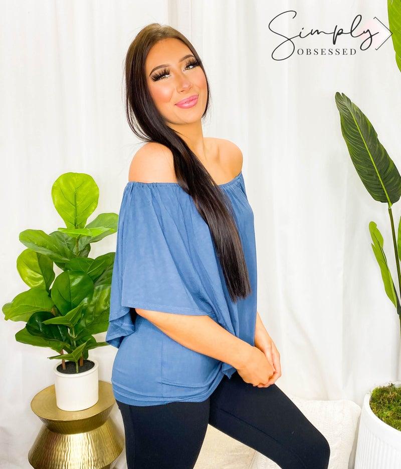 Chatoyant - Multi wear elastic neckline knit top