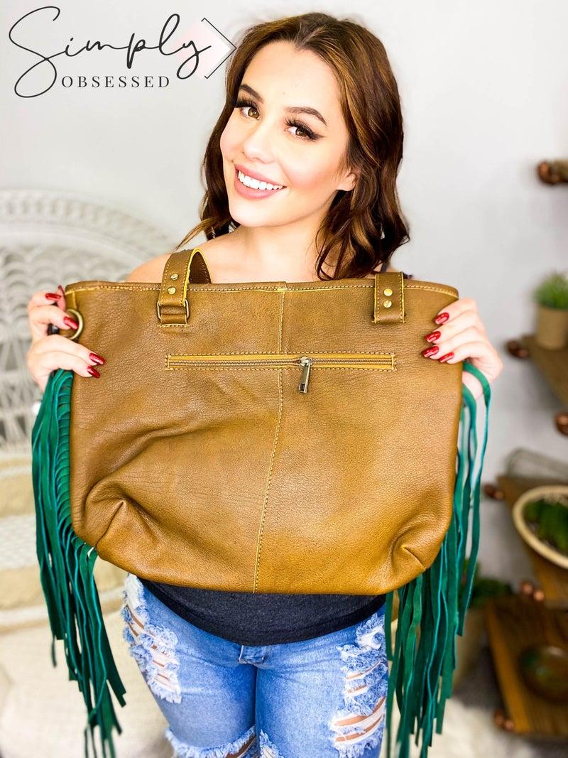 American Darling - Genuine hand crafted leather work tassel detail cross body bag