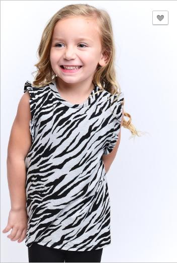 12PM by Mon Ami - Kids sleeveless zebra print tank top