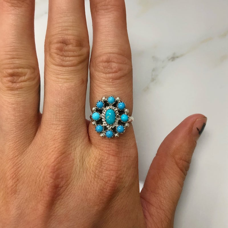 M&S Sterling Silver - Mini Turq Flower Cluster Ring