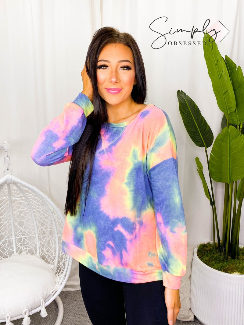 Bibi - Tie dye french terry pull over with front stitching detail (all sizes)