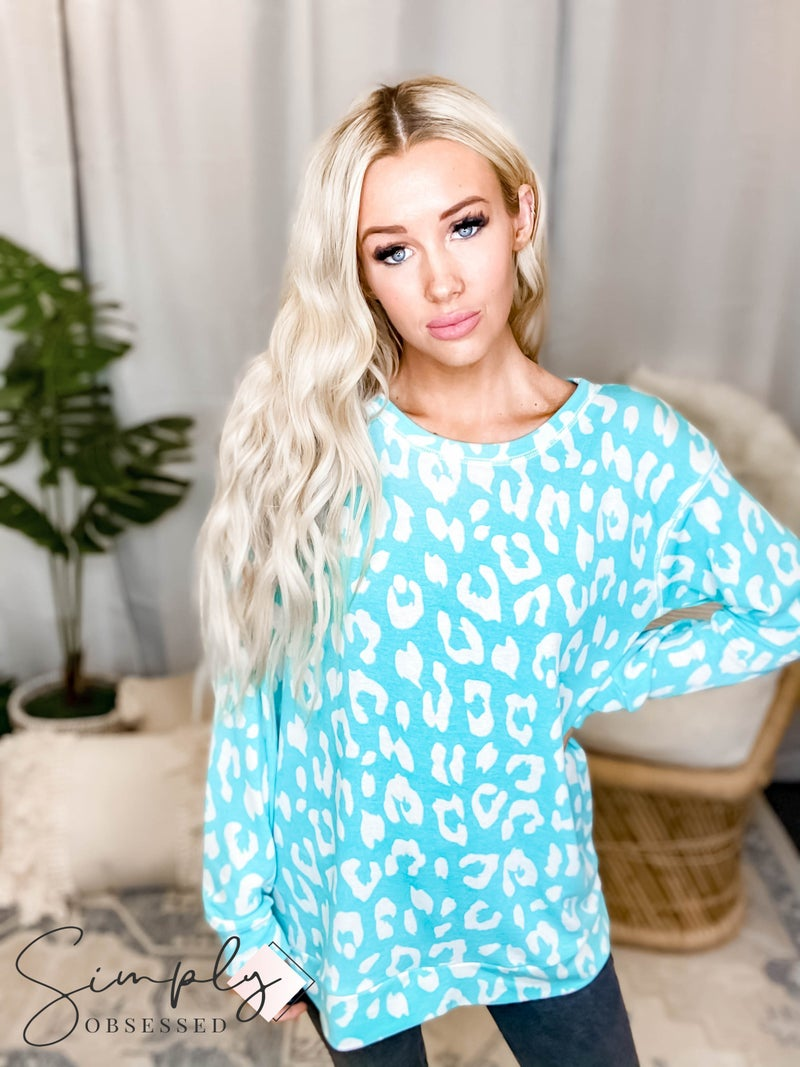 Sew In Love - Long Sleeve Round Neck Leopard Sweater