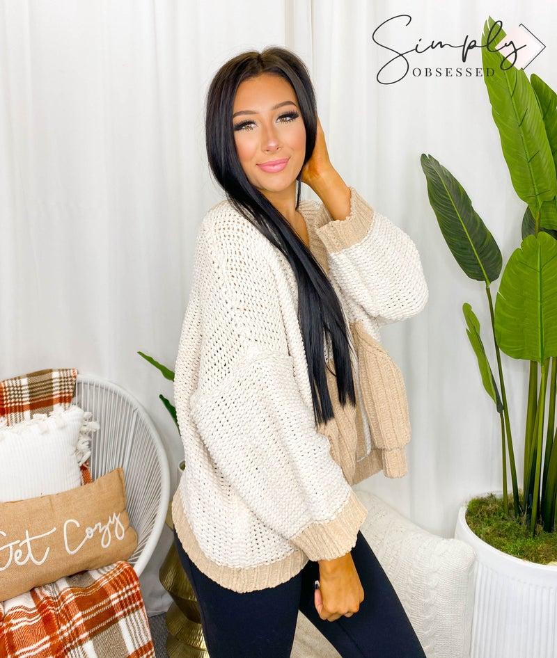 Pol - Long sleeve v neck front pocket detail knit sweater