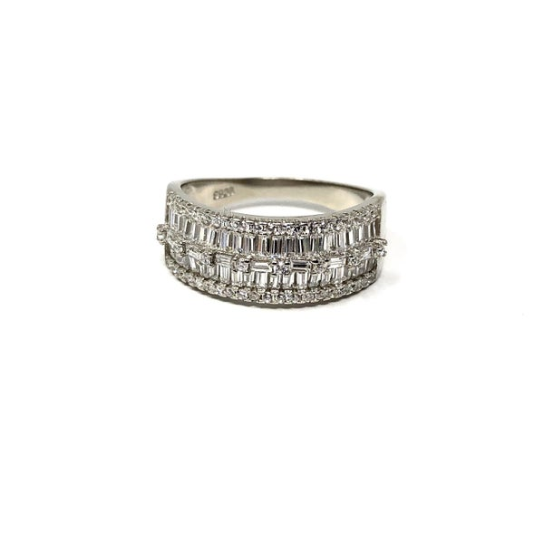 Baguette CZ Sterling Silver Layered Ring