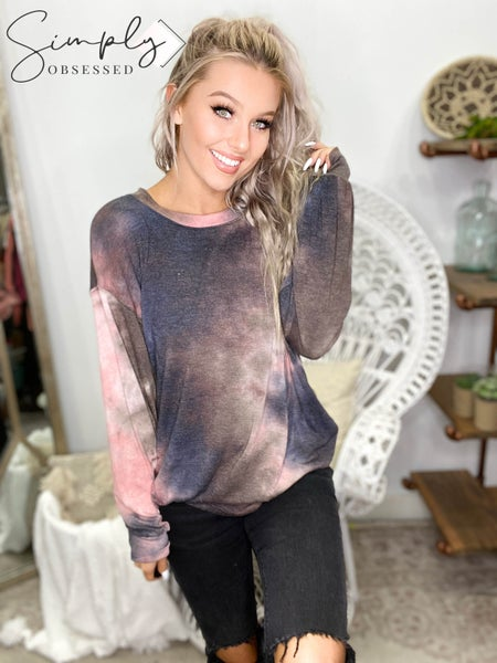 First Love - Tie Dye Top With Round Neckline And Long Sleeves
