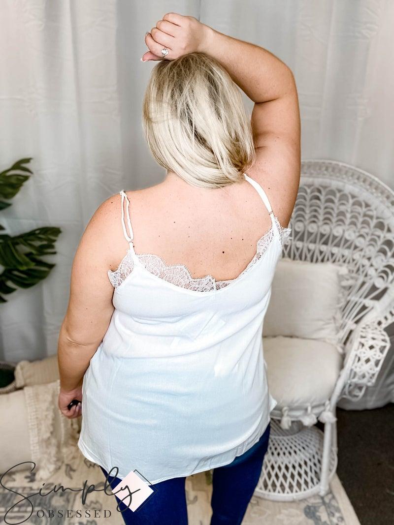 White Birch - Lace Trim Cami Top