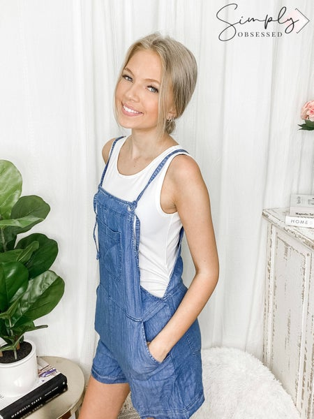 Be Cool - Strapped thigh length overall style romper