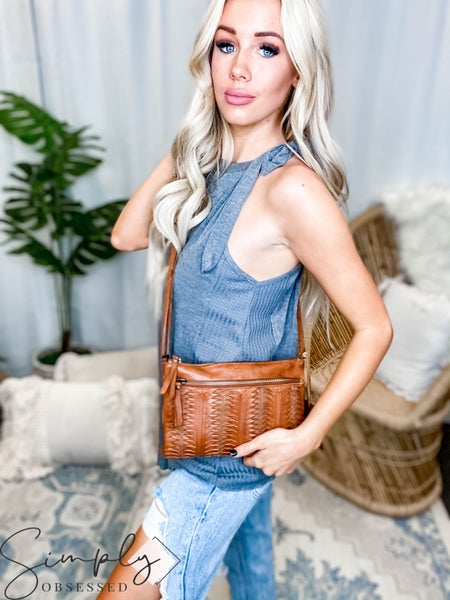 Latico Leathers - Natural leather slit detail cross body bag