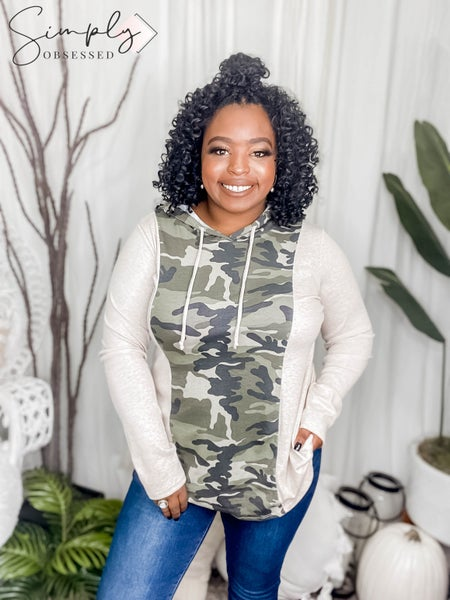 SEW IN LOVE-HOODED LONG SLEEVE SHIRT WITH CAMO CENTER