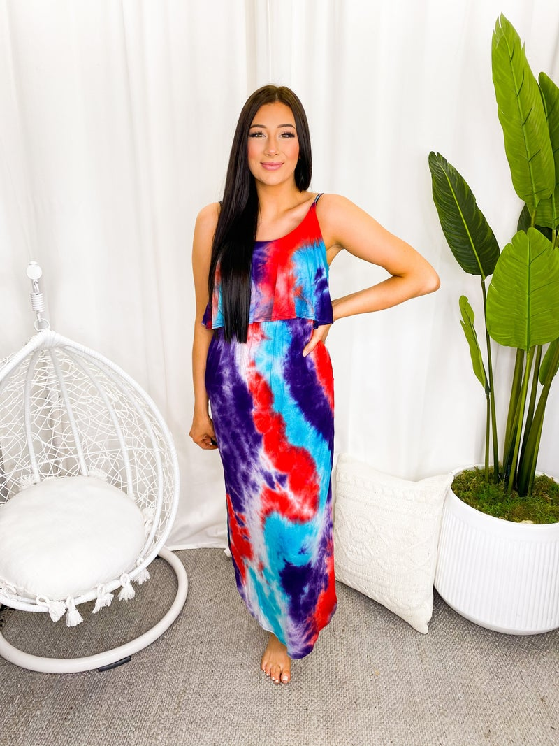 WHITE BIRCH-Sleeveless Tie Dye Knit Maxi Dress With Scoop Neck And Pockets