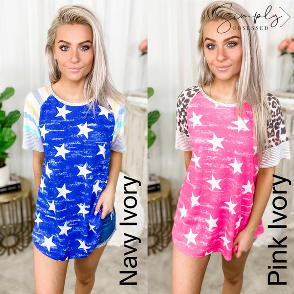 HONEY ME-Star Shirt With Striped Short Sleeves
