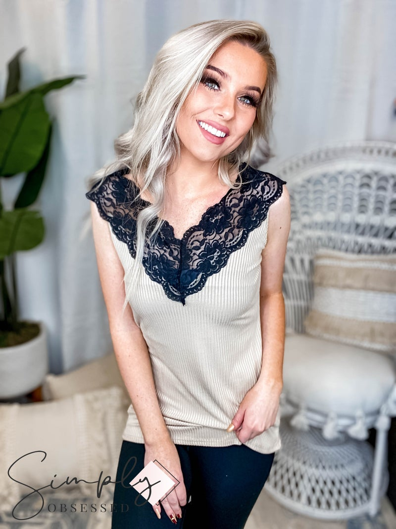 Blumin - Lace detail sleeveless v neck top(All Sizes)