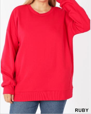 Long sleeve round neck sweatshirt with pocket detail