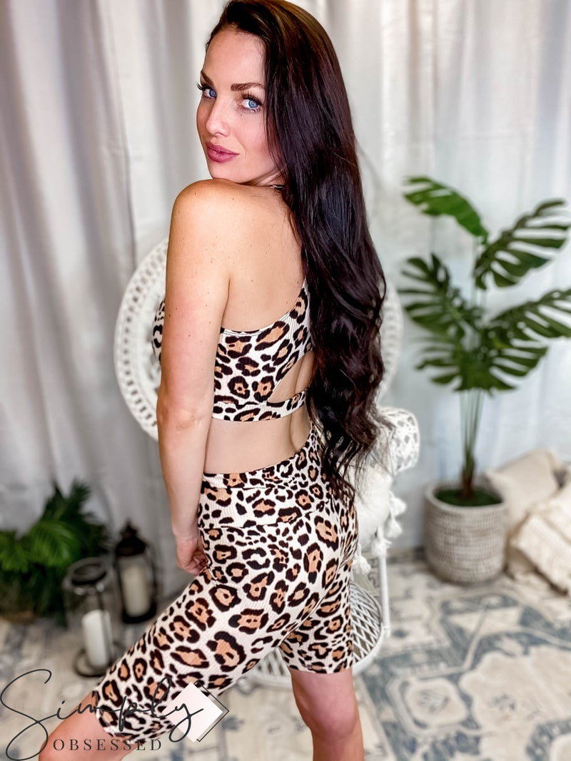 143 Story - Leopard Rib Textured Fitted Leggings Shorts