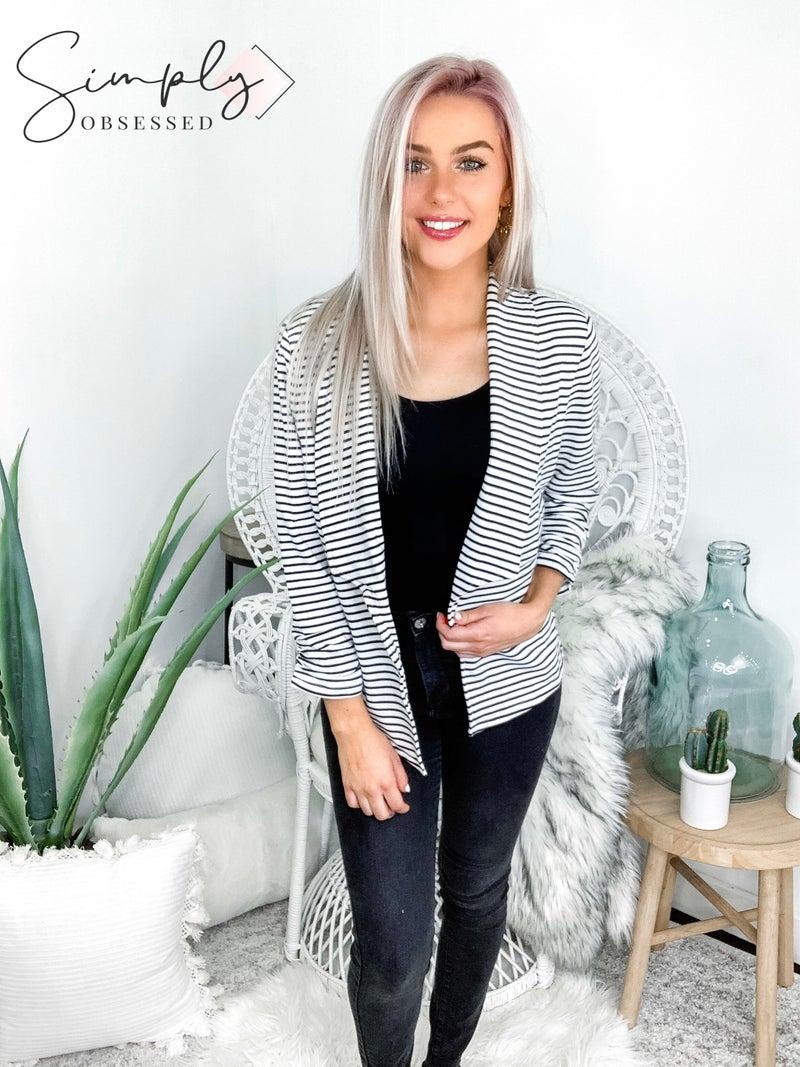 Doe & Rae - Stripe open blazer with sleeve elastic shirring detail