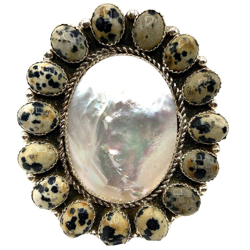M & S - Mother of Pearl Dalmatian Cluster Ring