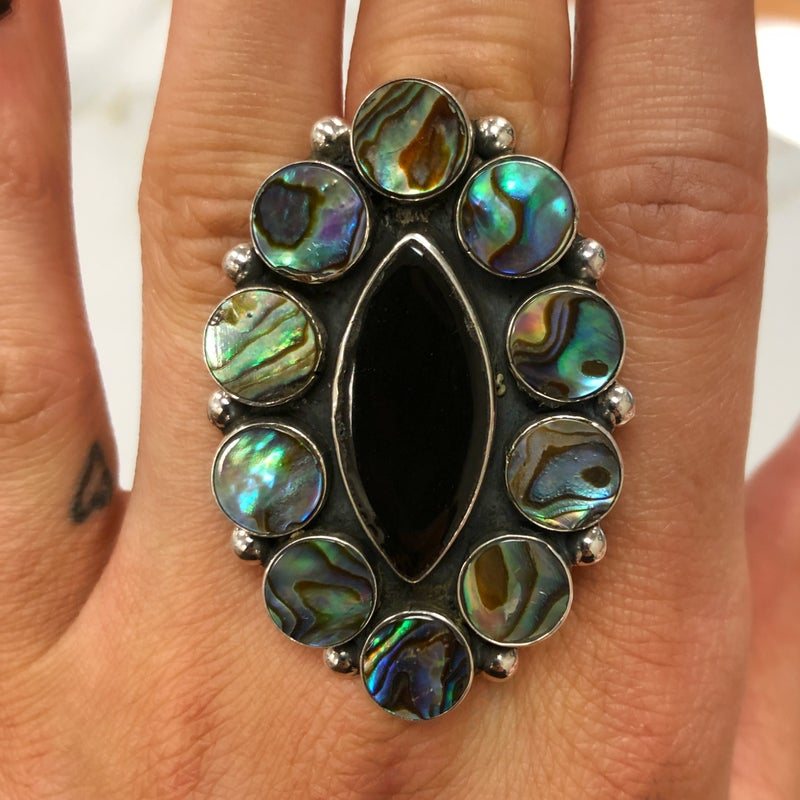 M&S Sterling Silver - Black Ceramic Ring w/Abalone Clusters